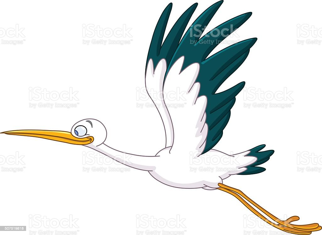 Stork flying vector art illustration