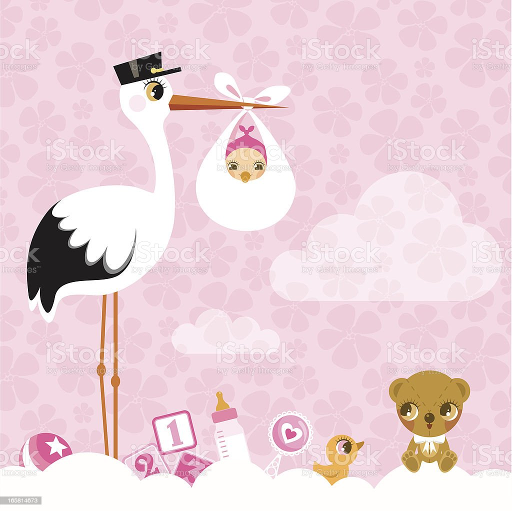 stork for girls. Newborn invitation baby shower pink cute royalty-free stock vector art