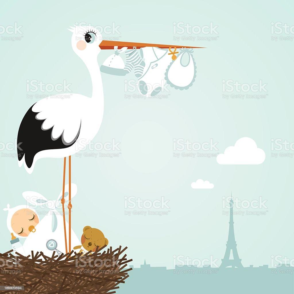 stork Paris newborn vector art illustration