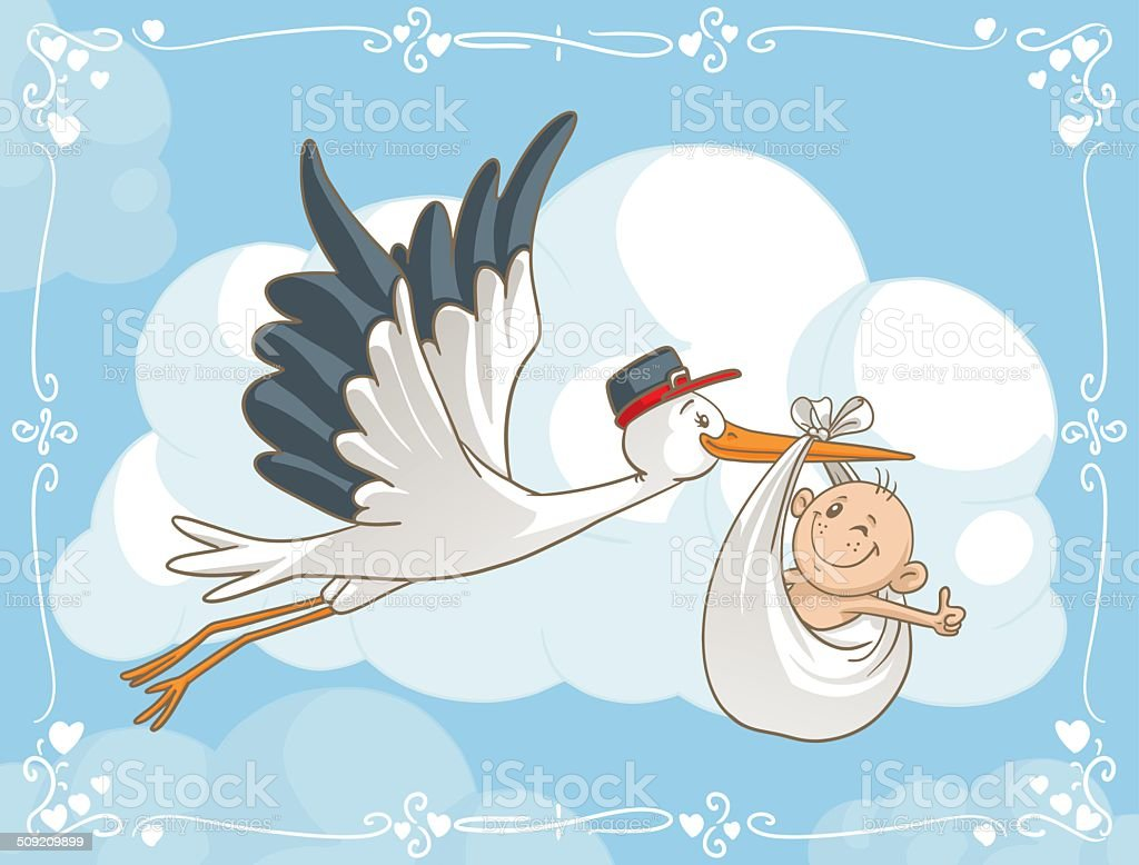 Stork with Baby Vector Cartoon royalty-free stock vector art