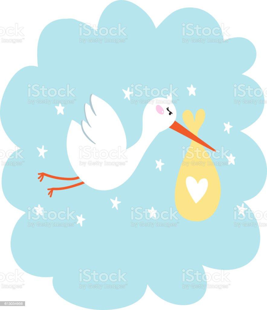 Stork with baby vector illustration vector art illustration