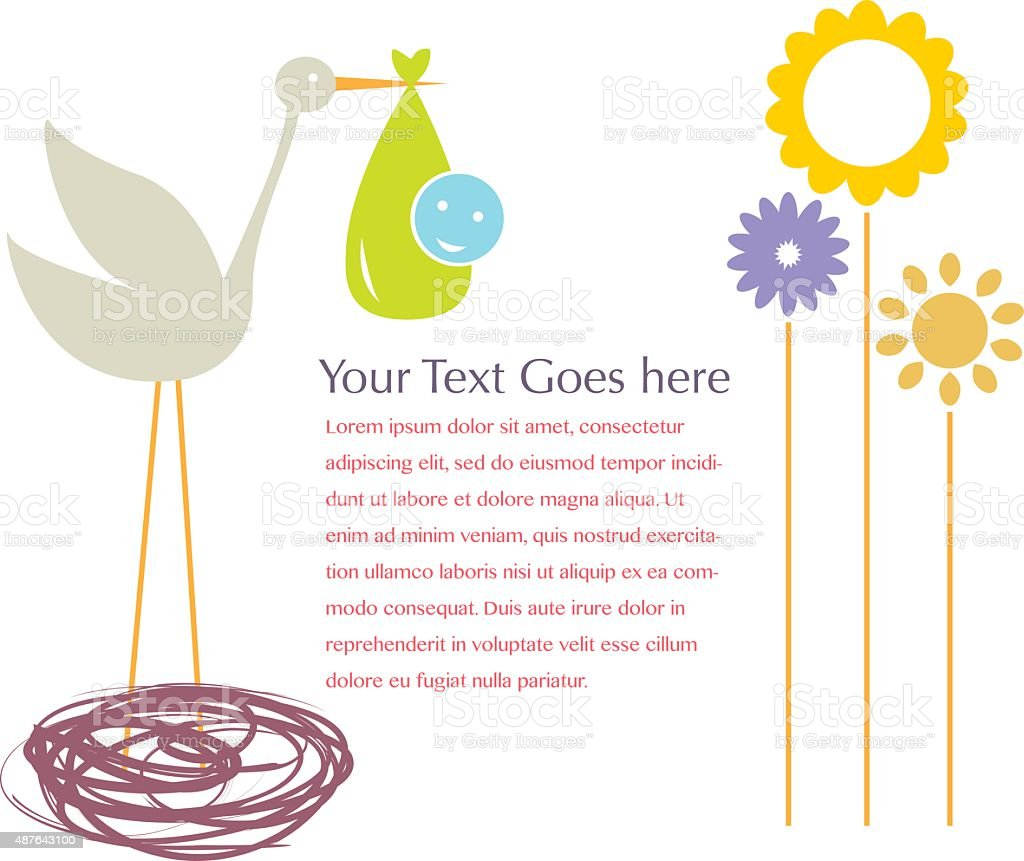 Stork With Baby With Gradient Mesh, Vector Illustration vector art illustration