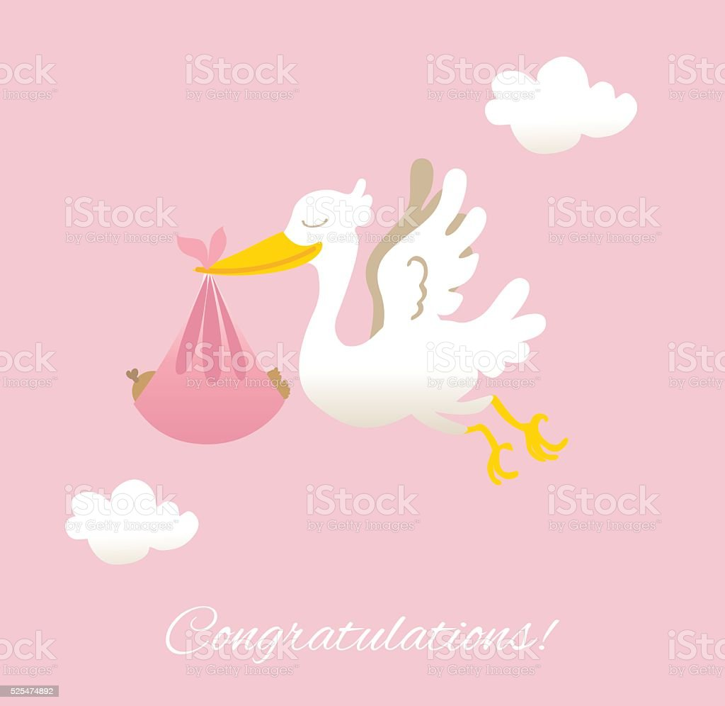 Stork with new baby girl and congratulations vector art illustration