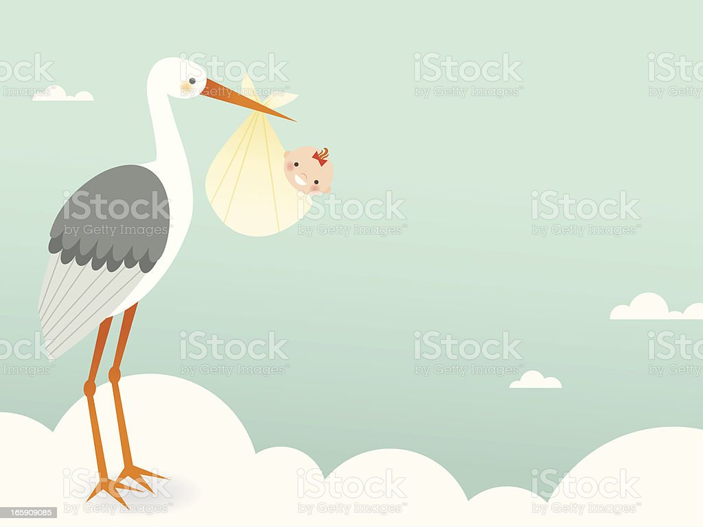 Stork's Bundle of Joy vector art illustration