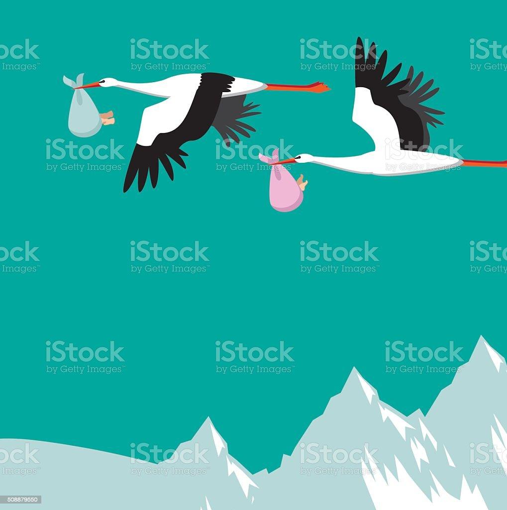 Storks delivering boy and girl babies vector art illustration