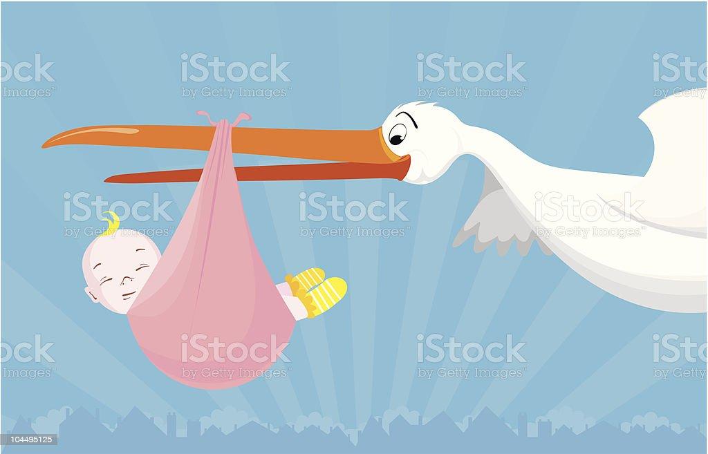 stork's job royalty-free stock vector art