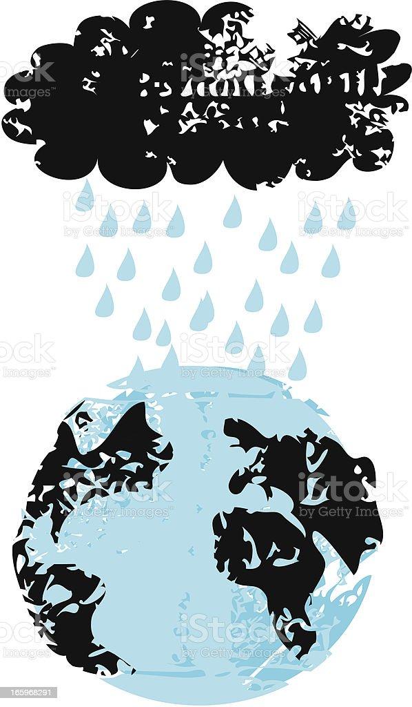 Storm Cloud Over Earth vector art illustration
