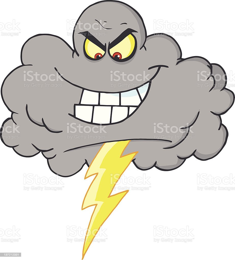 Storm Cloud With Thunderbolt royalty-free stock vector art