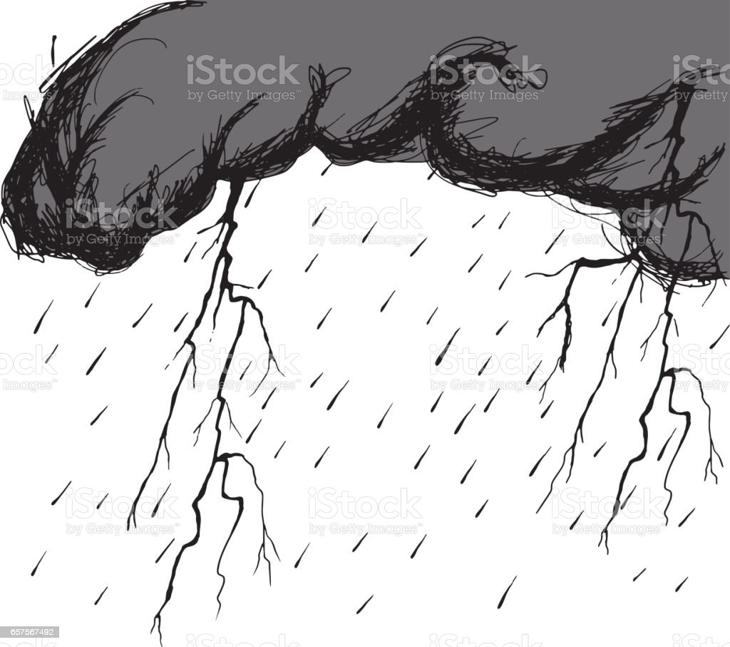 Storm clouds with raindrops and thunderbolt flashes vector art illustration