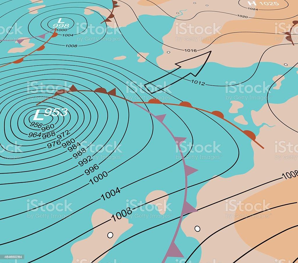 Storm depression chart vector art illustration