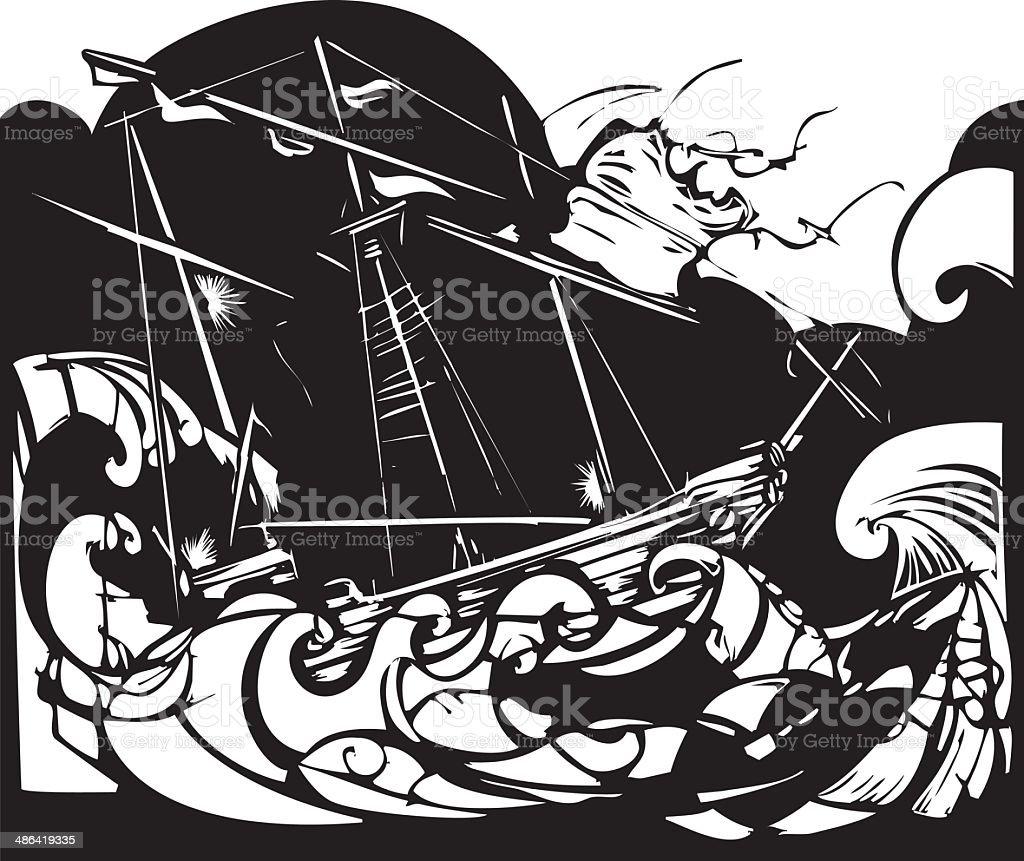 Storm Ship vector art illustration