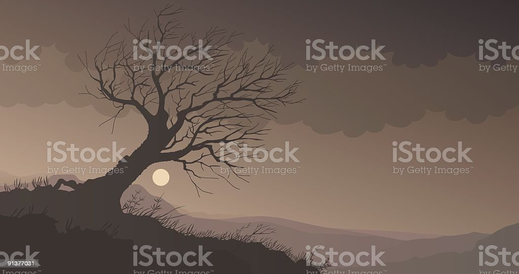 Storm tree royalty-free stock vector art