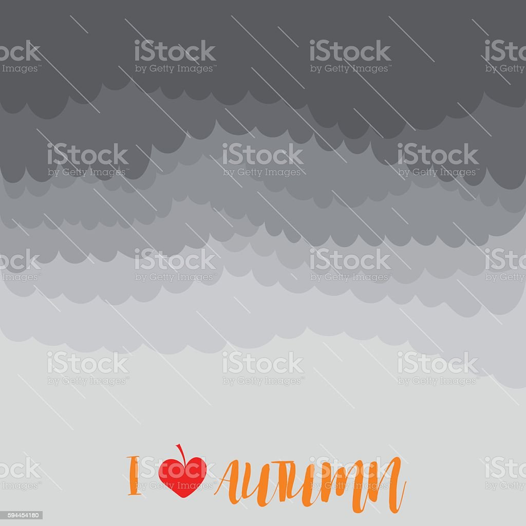 Stormy autumn sky with rain, vector illustration vector art illustration