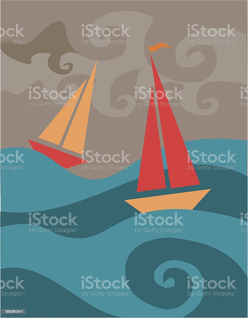 Stormy Sailboats royalty-free stock vector art