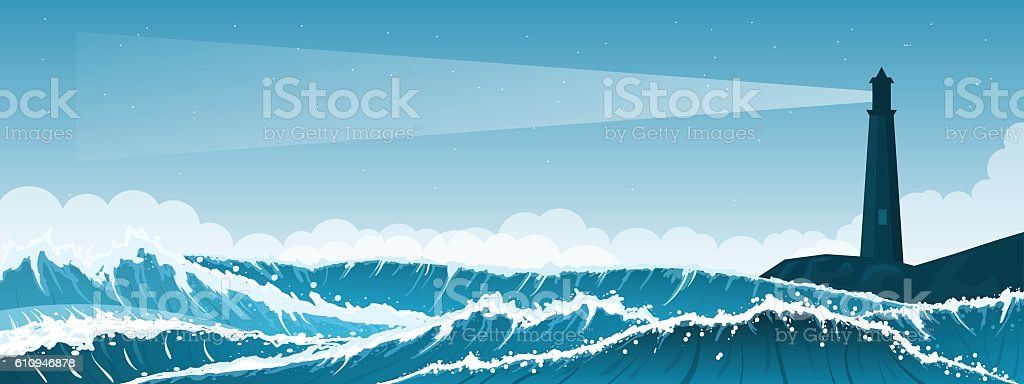 Stormy seascape background with lighthouse vector art illustration
