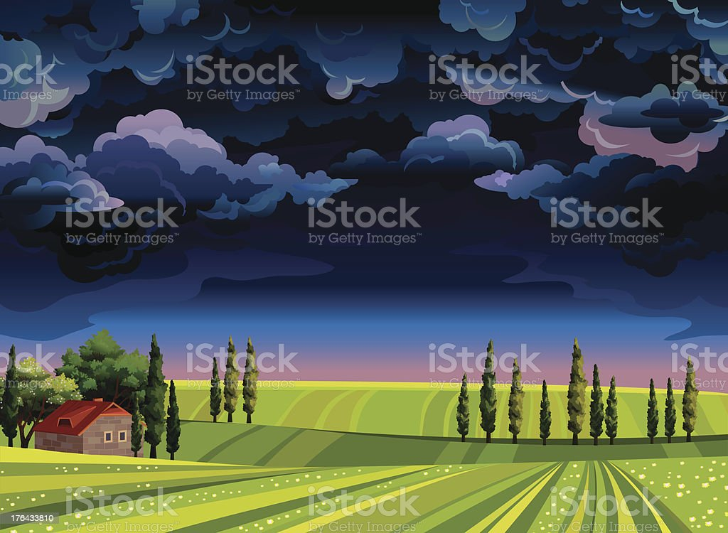Stormy sky and green meadow. royalty-free stock vector art