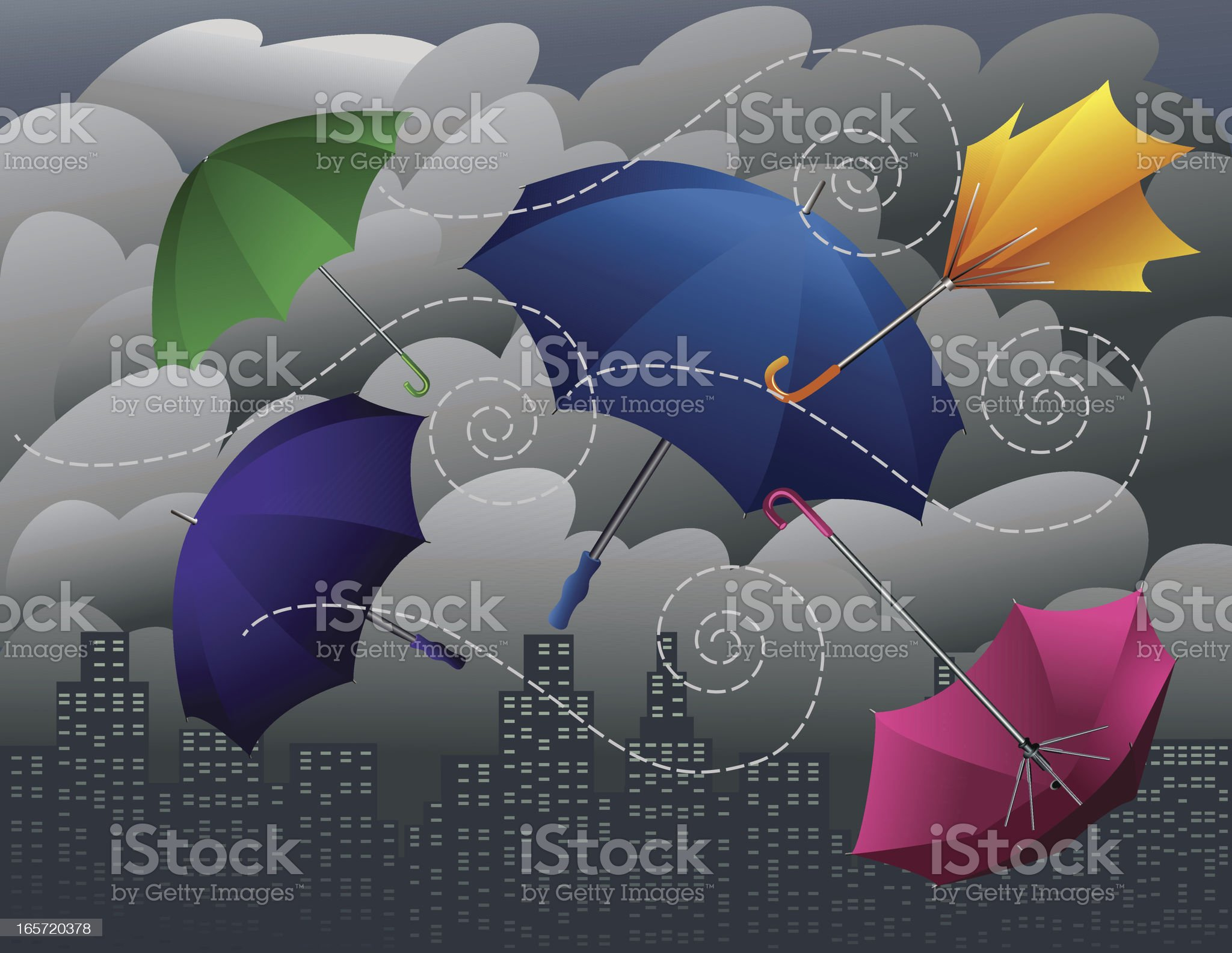 Stormy Umbrellas royalty-free stock vector art
