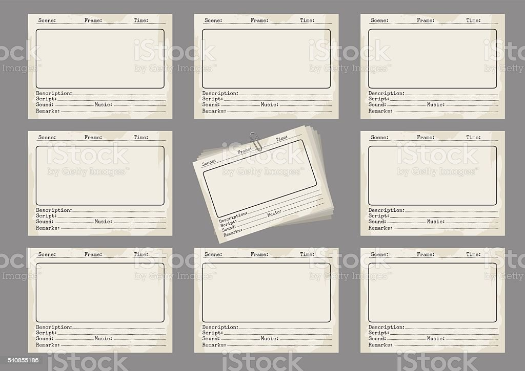 Storyboard template in retro style vector art illustration