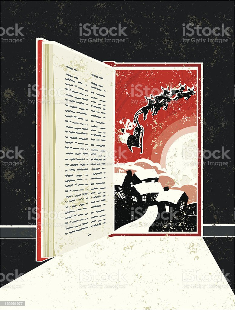 Storybook Doorway Showing Father Christmas Sleigh Scene royalty-free stock vector art