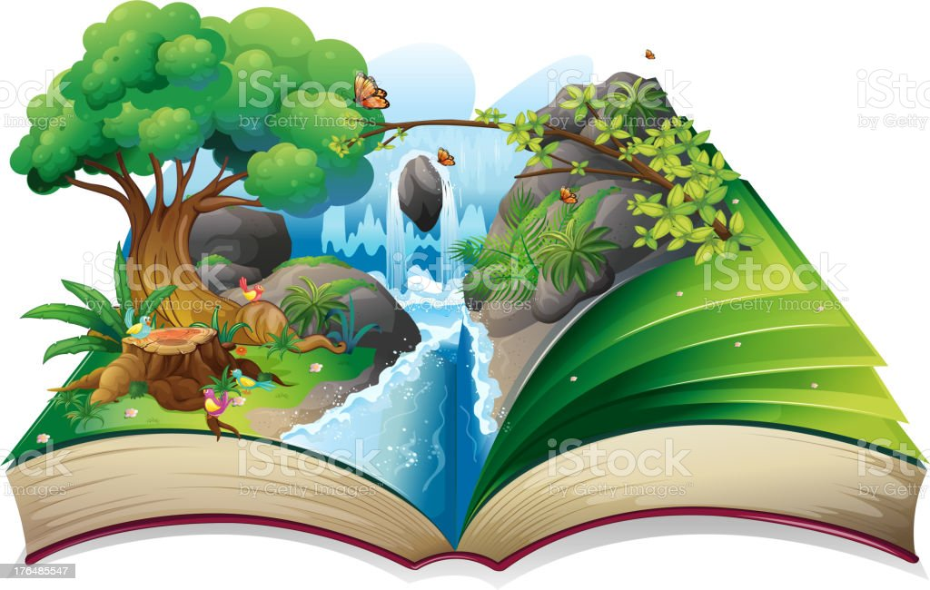 Storybook with an image of nature vector art illustration