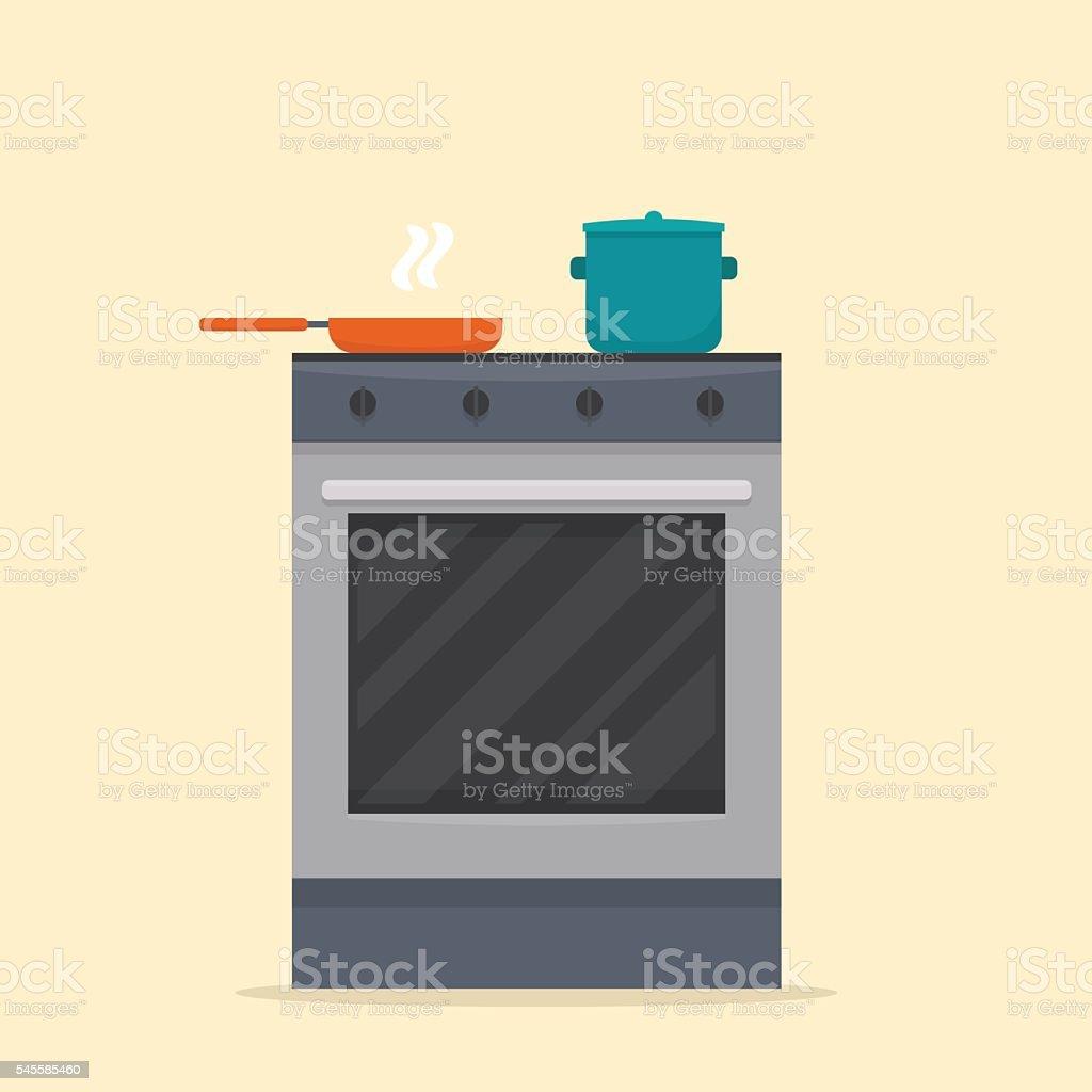 Stove in kitchen. vector art illustration