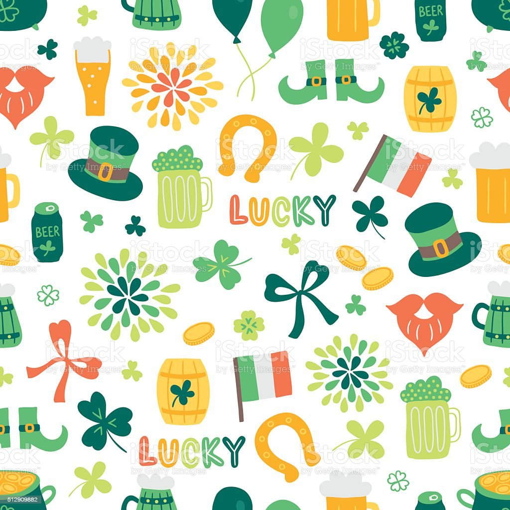 St.Patrick's Day seamless pattern with clover, coins, firework, beer vector art illustration