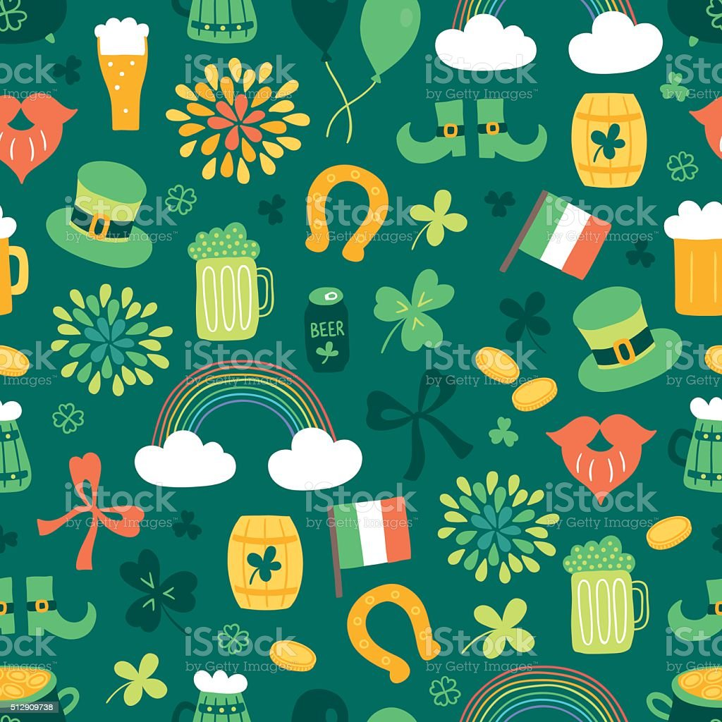 St.Patrick's Day seamless pattern with clover, rainbow, horseshoe, beer vector art illustration