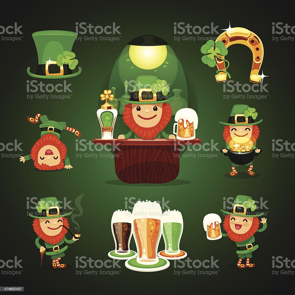 st.Patrick's Day's set with horseshoe royalty-free stock vector art