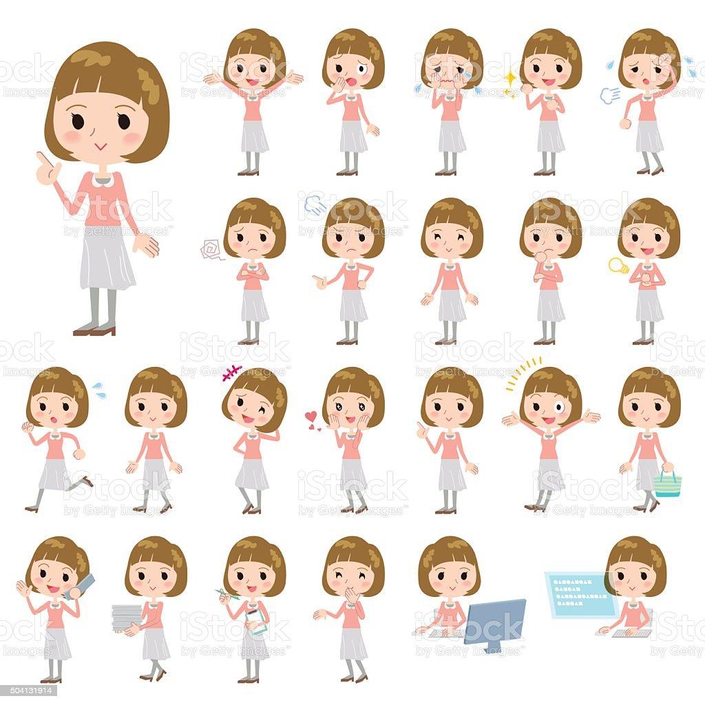 Straight bangs hair pink blouse women vector art illustration
