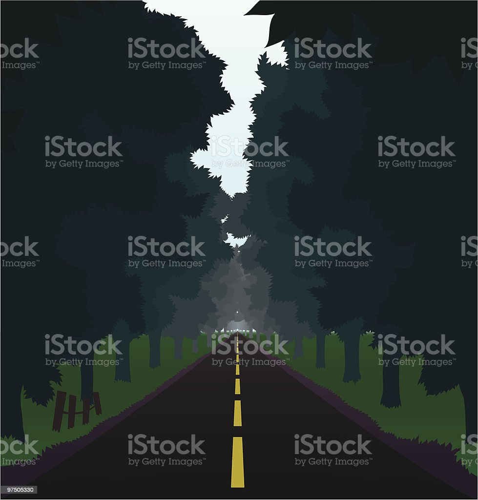 Straight Country Road royalty-free stock vector art