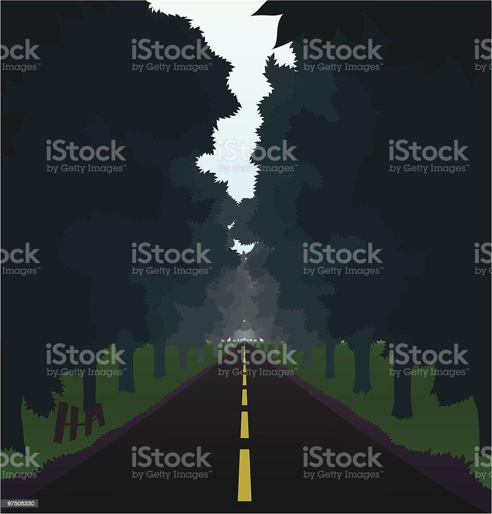 Straight Country Road vector art illustration