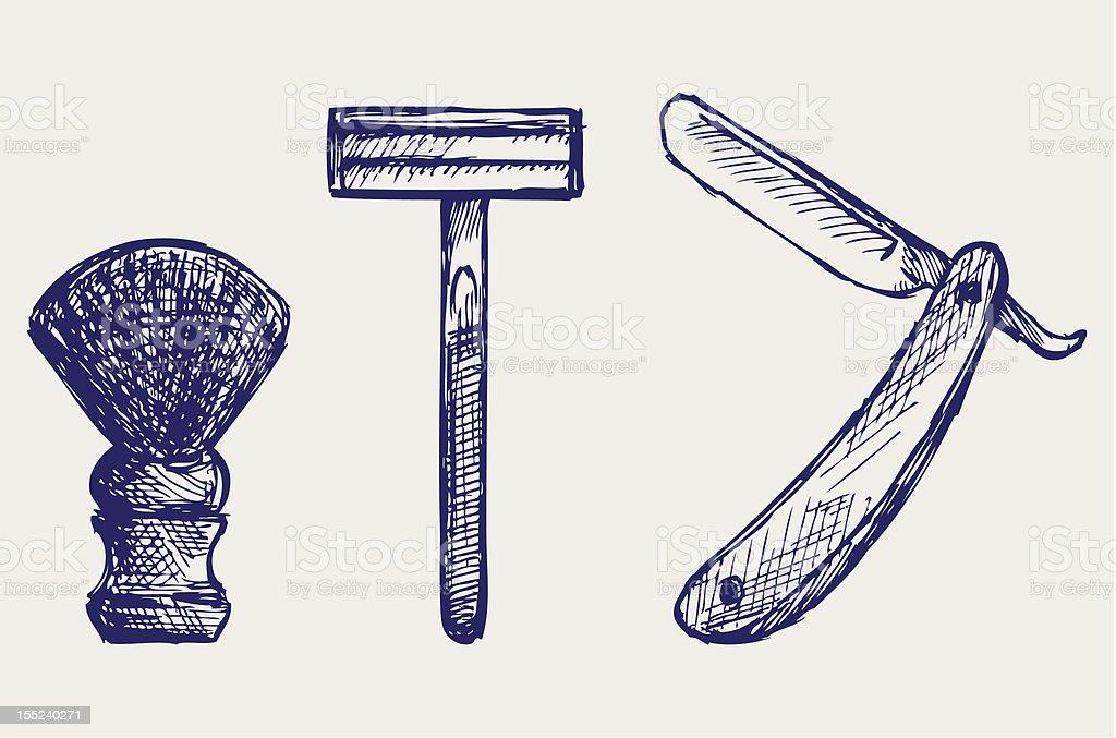 Straight razor and shaving brush royalty-free stock vector art
