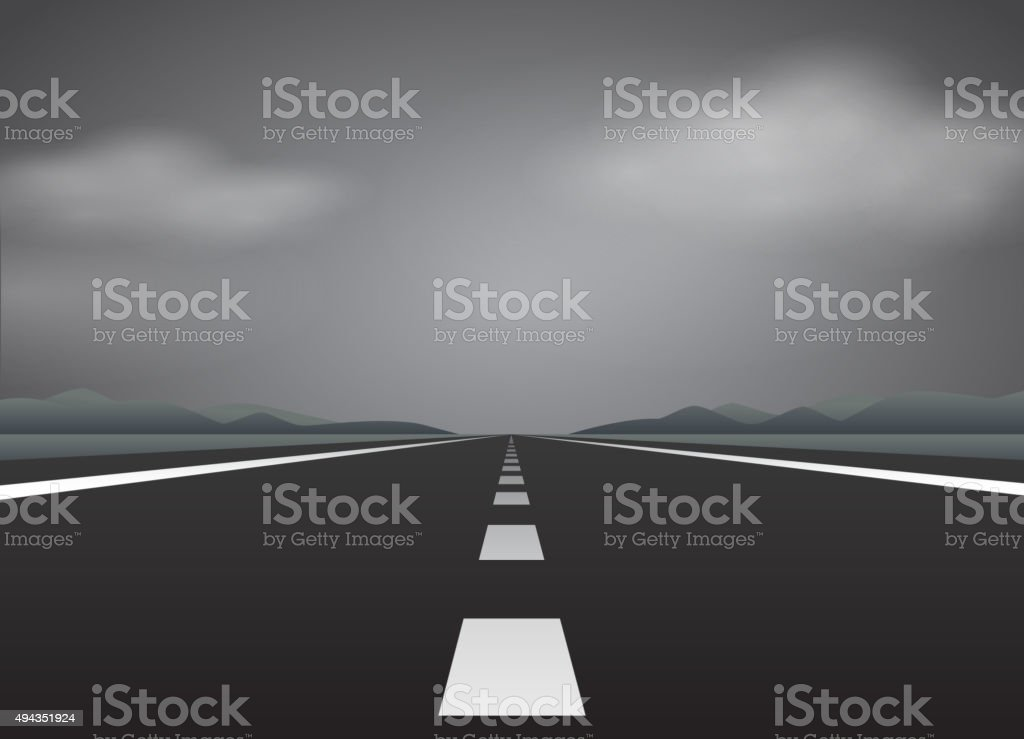 Straight road and bad weather vector art illustration