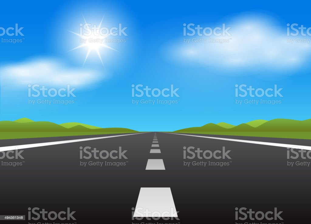 Straight road and blue sky vector art illustration