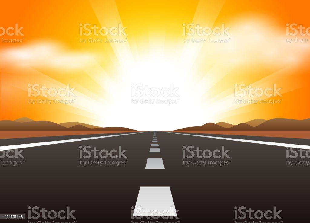 Straight road and sunrise vector art illustration