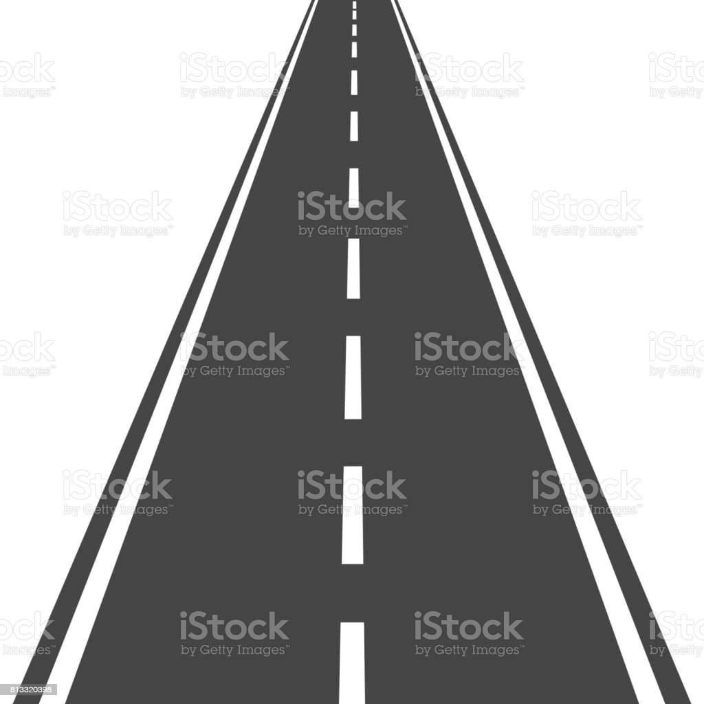 Straight road with white markings vector illustration. Highway road icon. vector art illustration