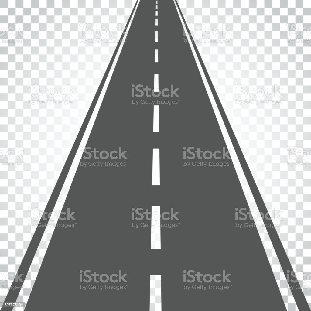 Straight road with white markings vector illustration. Highway road icon. Business concept simple flat pictogram on isolated background. vector art illustration