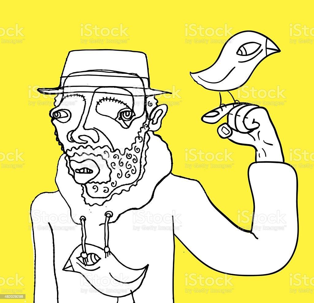Strange Man vector art illustration