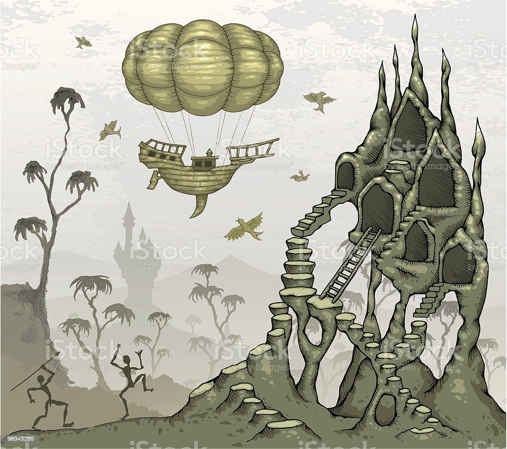 Strange Whimisical Landscape vector art illustration