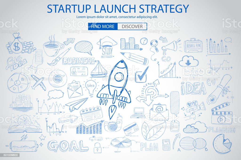 Strartup Launch Strategy Concept with Doodle design style vector art illustration