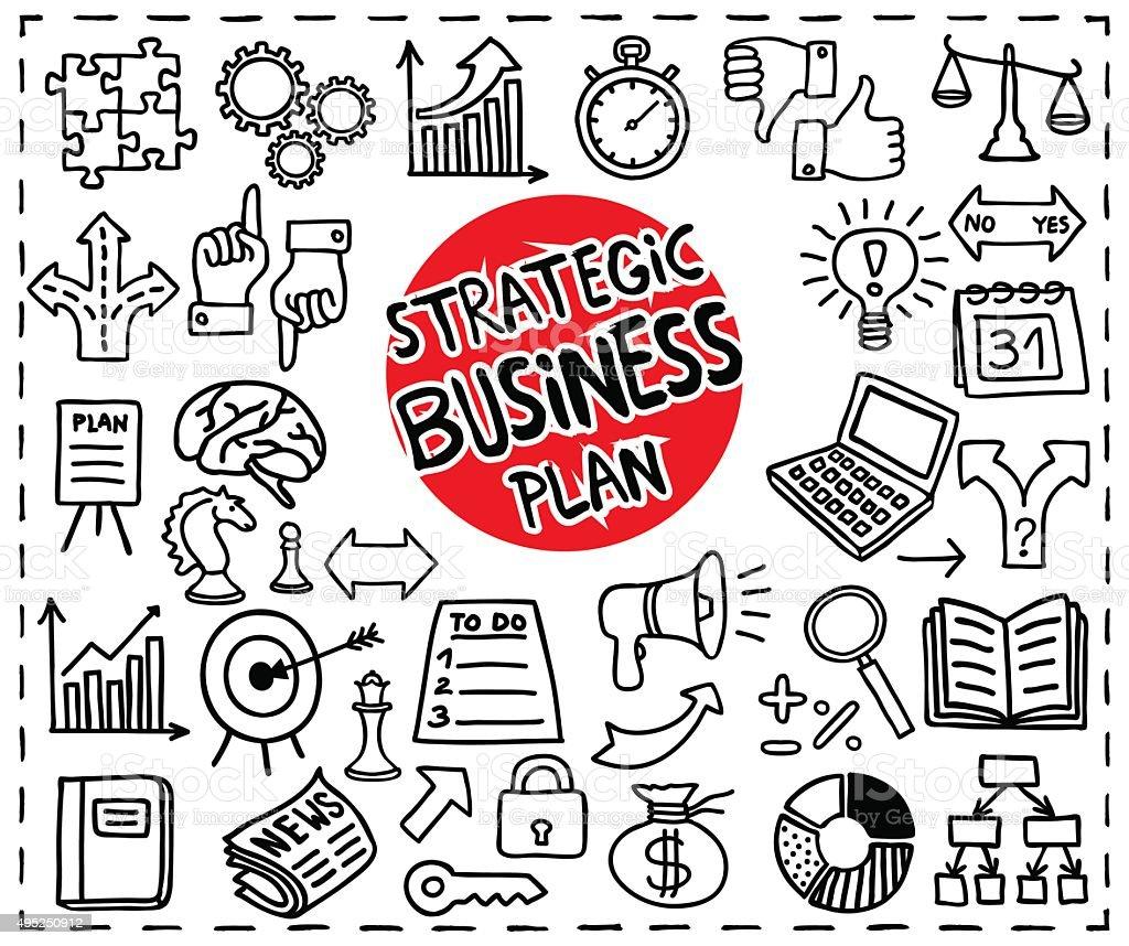 Strategic Business icons vector art illustration