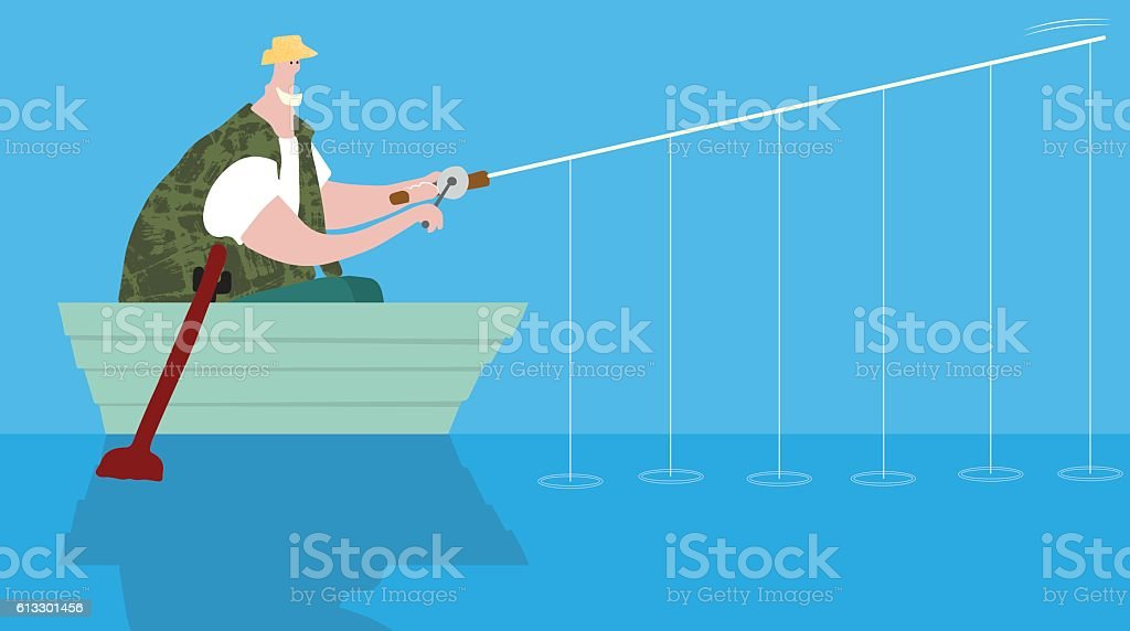 Strategic fishing system vector art illustration
