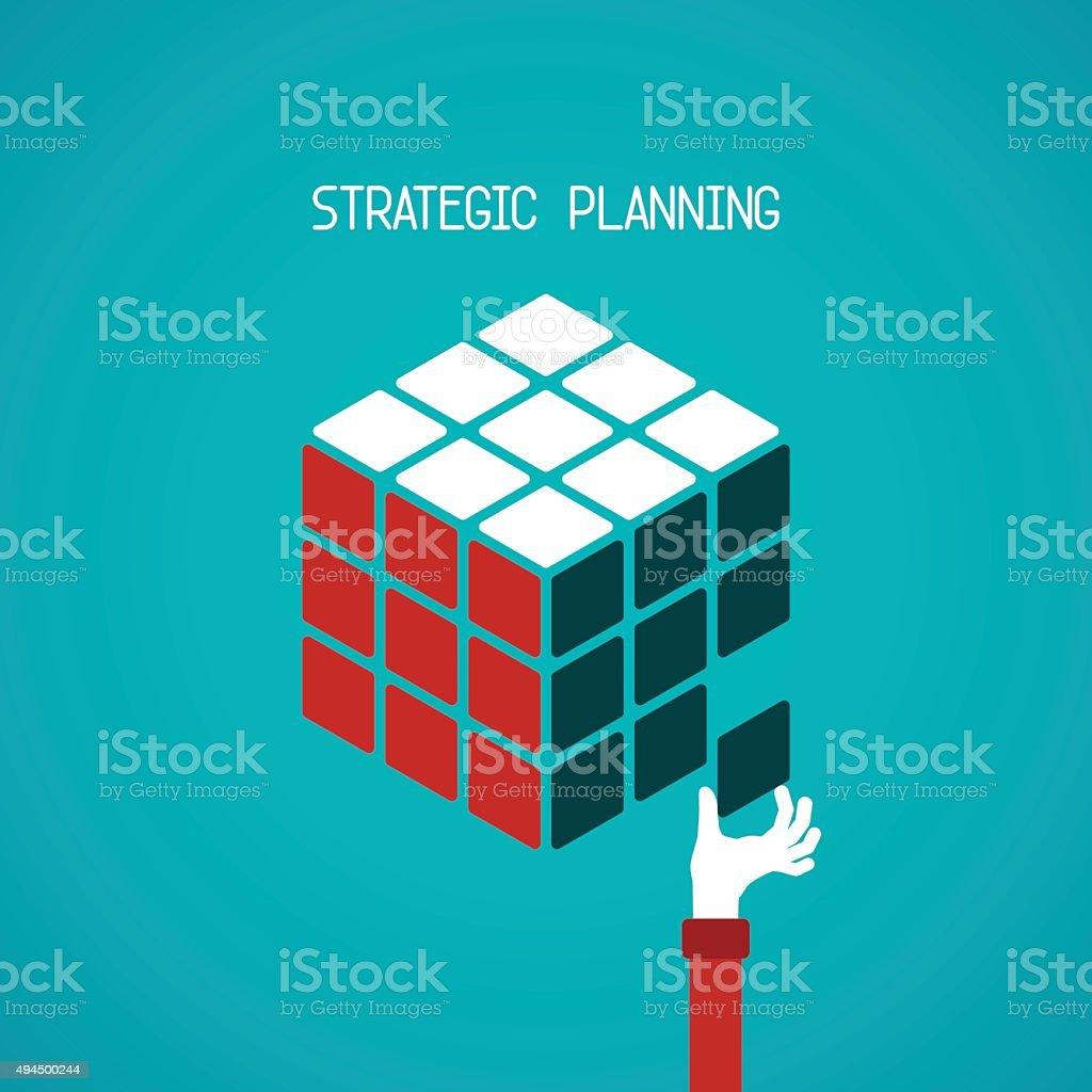 Strategic planning cube vector concept in flat style vector art illustration