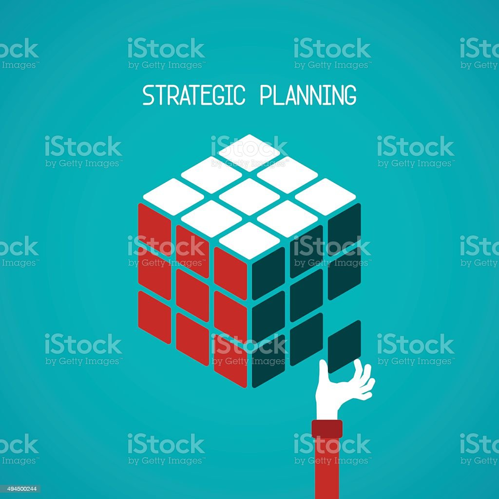 Strategic planning cube vector concept in flat style vector art illustration