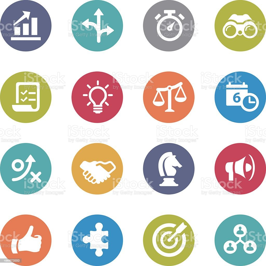 Strategy and Business Icons - Circle Series vector art illustration