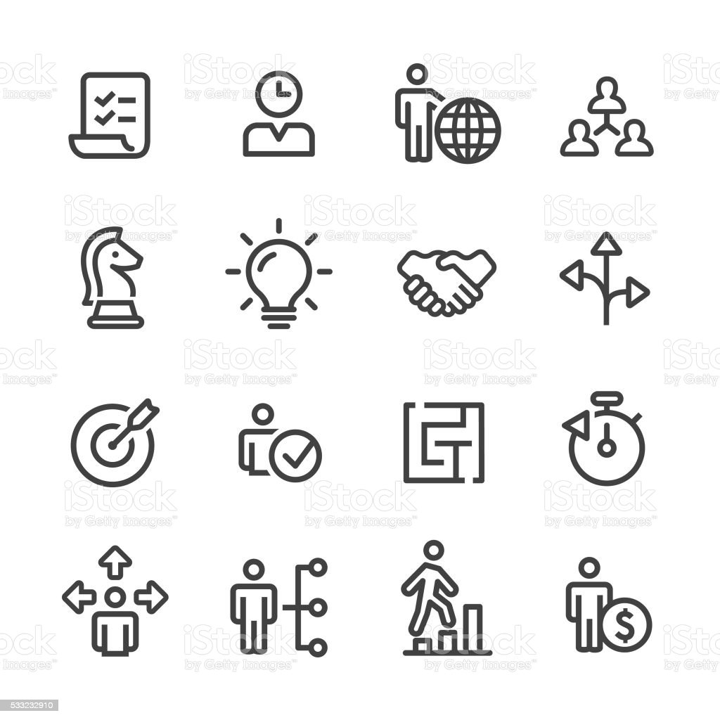 Strategy and Management Icons Set - Line Series vector art illustration