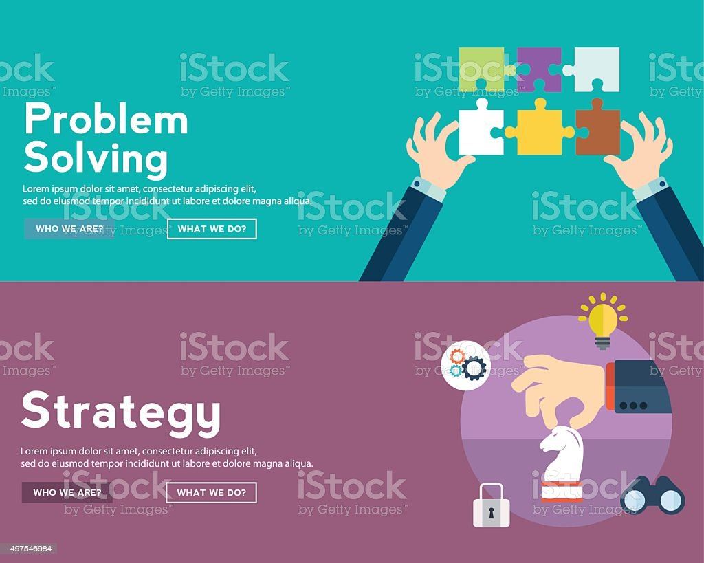Strategy and problem solving icons and illustrations in flat style vector art illustration