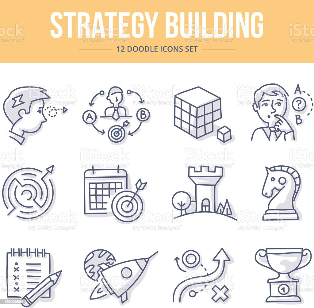 Strategy Building Doodle Icons vector art illustration