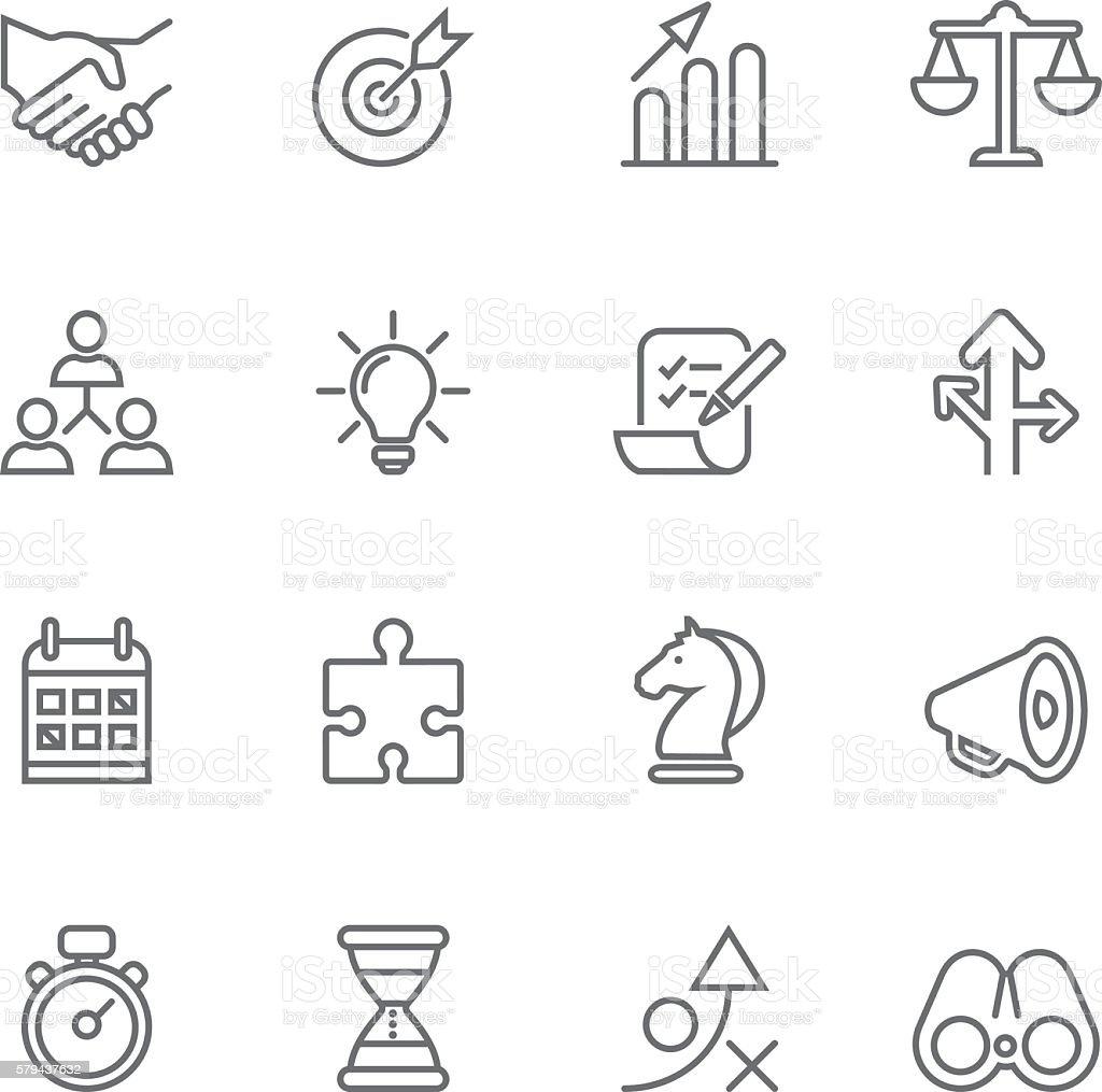Strategy Business Success Management Line icons   EPS10 vector art illustration