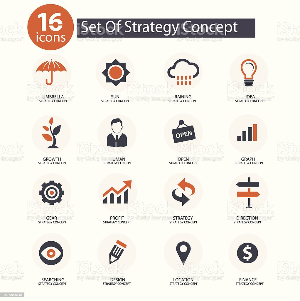 Strategy Concept icons,vector,Orange version vector art illustration